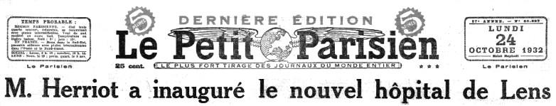23 octobre 1932 : inauguration de l'hôpital de Lens dans Histoire titre